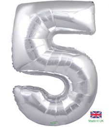 Number 5 Silver Balloon (30 Inches)