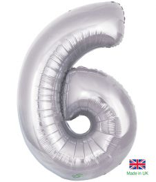 Number 6 Silver Balloon (30 Inches)