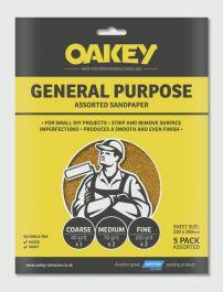 Oakey General Purpose Sandpaper 5 Pack - Assorted - (1 x C, 2 x M, 2 x F) 280 x 230mm