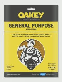 Oakey General Purpose Sandpaper 5 Pack - Coarse 280 x 230mm