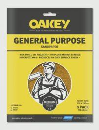 Oakey General Purpose Sandpaper 5 Pack - Medium 280 x 230mm