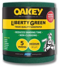 Oakey Liberty Green Sanding Roll 5m - Medium 80g