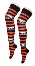 Orange Black Stripe Skull OTK Socks (12 Pairs)