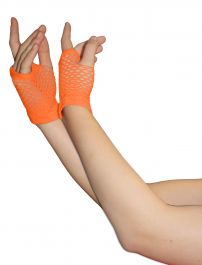 Orange Fingerless Short Fishnet Gloves