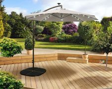 Pagoda Over Hang Parasol with LEDs - Beige 2.7m