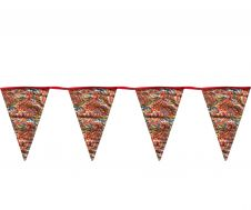 Paisley Print Bunting flags Cream w/ Red Lace