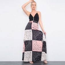 Paisley Printed Black Maxi Dress