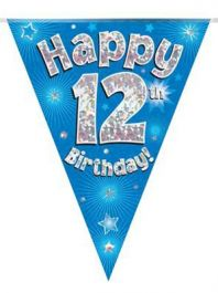 Party Bunting Happy 12th Birthday Blue Holographic 11 flags 3.9m
