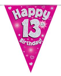 Party Bunting Happy 13th Birthday Pink Holographic 11 flags 3.9m