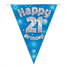 Party Bunting Happy 21st Birthday Blue Holographic 11 flags 3.9m