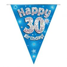 Party Bunting Happy 30th Birthday Blue Holographic 11 flags 3.9m