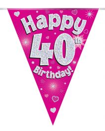 Party Bunting Happy 40th Birthday Pink Holographic 11 flags 3.9m