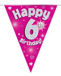 Party Bunting Happy 6th Birthday Pink Holographic 11 flags 3.9m