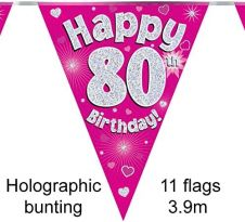 Party Bunting Happy 80th Birthday Pink Holographic 11 flags 3.9m