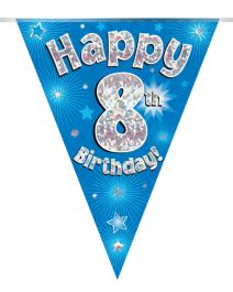 Party Bunting Happy 8th Birthday Blue Holographic 11 flags 3.9m