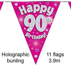 Party Bunting Happy 90th Birthday Pink Holographic 11 flags 3.9m