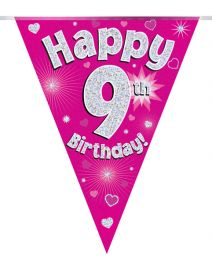Party Bunting Happy 9th Birthday Pink Holographic 11 flags 3.9m