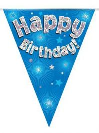 Party Bunting Happy Birthday Blue Holographic 11 flags 3.9m