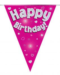 Party Bunting Happy Birthday Pink Holographic 11 flags 3.9m