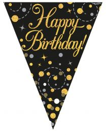 Party Bunting Sparkling Fizz Birthday Black & Gold Holographic 11 flags 3.9m