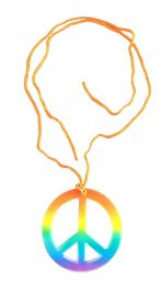 Peace Sign Hippie Necklace Rainbow
