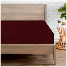 PERCALE FITTED SHEET BURGUNDY