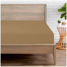 PERCALE FITTED SHEET MOCHA