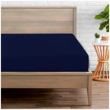 PERCALE FITTED SHEET NAVY