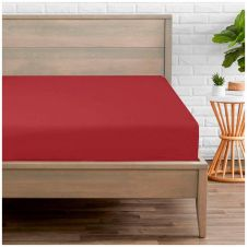 PERCALE FITTED SHEET RED