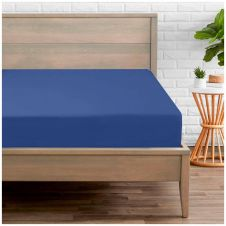 PERCALE FITTED SHEET ROYAL BLUE