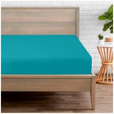 PERCALE FITTED SHEET TEAL