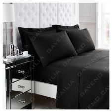 PERCALE FLAT SHEET BLACK