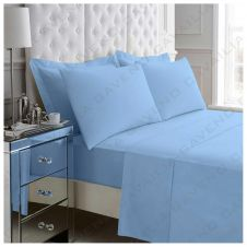 PERCALE FLAT SHEET BLUE
