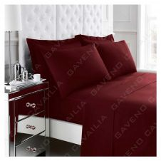 PERCALE FLAT SHEET BURGUNDY
