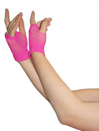 Pink Fingerless Short Fishnet Gloves