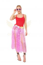 Pink Hula Skirt with Flowers (80cm)