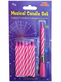 Pink Musical Candle Set