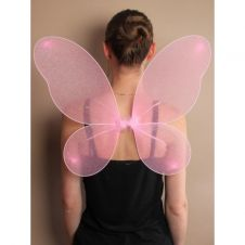 Pink Net Fairy Wings with Silver Glitter