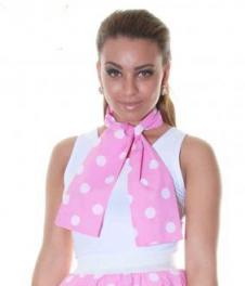 Pink White Polka Dot Scarf (111 cm)