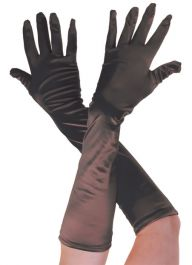 Plain Satin Long Gloves Black