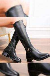 Plain Side Buckle Long Boots Black