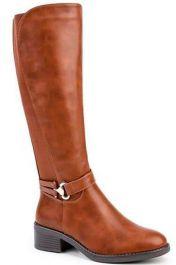 Plain Side Buckle Long Boots Camel