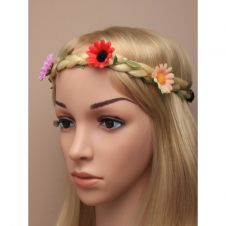 Plaited imitation hair garland with flowers