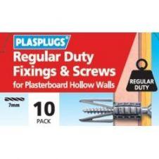 Plasplug Regular Duty Fixings & Screws - Pack 10
