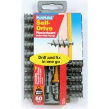 Plasplugs Nylon Self Drive Fixings (50) Drill Driver