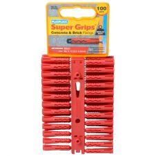 Plasplugs Red Supergrip Fixings - 100 Pack