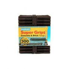 Plasplugs Supergrip Fixings - Brown - 300 Pack