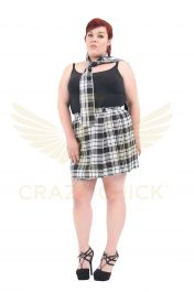 Plus Size 18 Inches Black Wrap Over Tartan Skirt