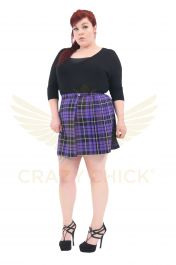 Plus Size 18 Inches Purple Wrap Over Tartan Skirt