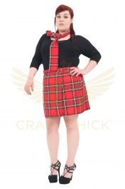 Plus Size 18 Inches Red Wrap Over Tartan Skirt